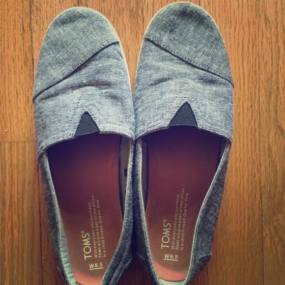 92225ab1016 Toms Shoes - Black Slub Chambray Women s Avalon Slip-Ons